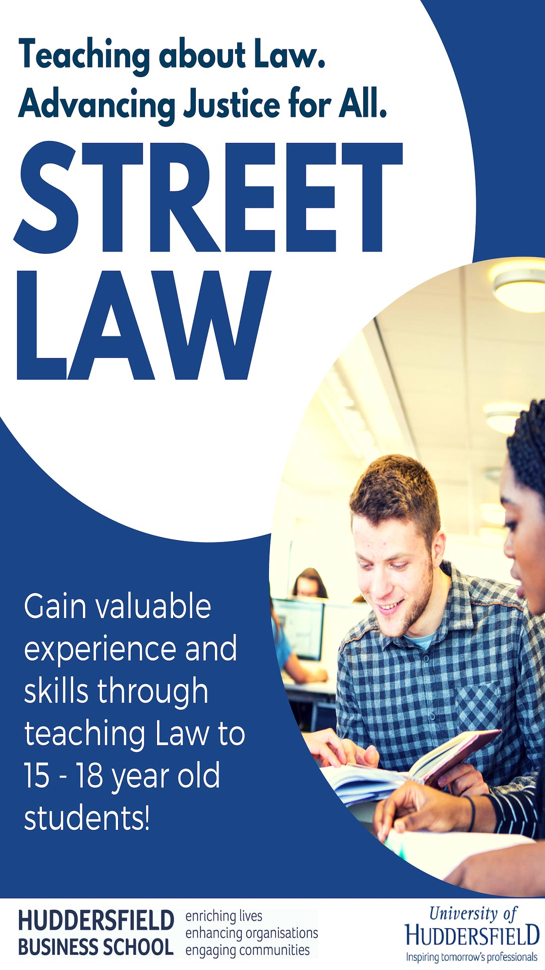 Street law information banner about teaching to 15 - 18 year old students.